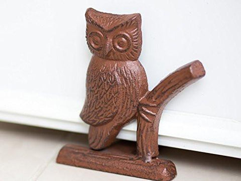 "Image of Cast Iron Owl Door Stop | Decorative Door Stopper Wedge | with Padded Anti-scratch Felt Bottom | Vintage Design | 6x6.5x6.3"" by Comfify (Rust Brown) - zingydecor"