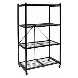 Origami R5-01W General Purpose 4-Shelf Steel Collapsible Storage Rack with Wheels, Large - zingydecor
