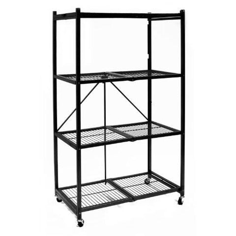 Image of Origami R5-01W General Purpose 4-Shelf Steel Collapsible Storage Rack with Wheels, Large