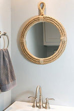 Load image into Gallery viewer, Stonebriar Small Round Wrapped Rope Mirror with Hanging Loop, Vintage Nautical Design - zingydecor