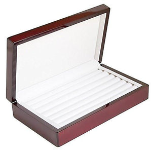 Caddy Bay Collection Rosewood Color Glossy Finish Jewelry Ring Case Display Cuff Links Body Jewelry Storage Box With Ring Rows - zingydecor