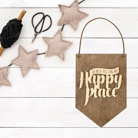 Image of Happy Place - Wood Sign - Wall Decor - Gift Idea for Couples - Wall Hanging - Gifts for Boss - My Happy Place - Bedroom Decor - Office Decor