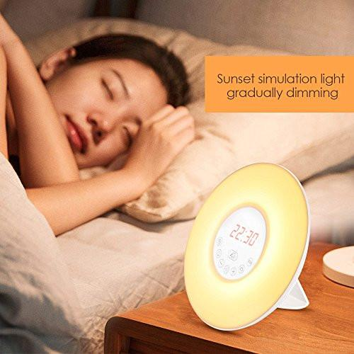 INLIFE Wake Up Light Alarm Clock Sunrise Simulation Dusk Fading Night Light with Nature Sounds, FM Radio, Touch Control and USB Charger