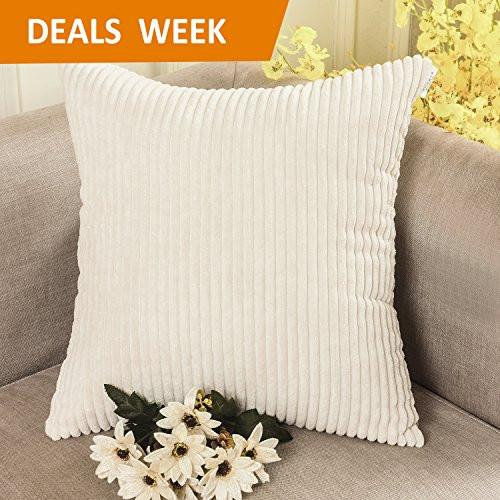 Home Brilliant Solid Decorative Toss Pillow Case Striped Corduroy Cushion Cover for Sofa, Cream, 18x18-inch (45cm) - zingydecor