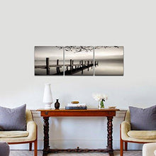 Load image into Gallery viewer, Pyradecor Peace 3 panels Black and White Landscape Giclee Canvas Prints on Canvas Wall Art Modern Stretched and Framed Pictures Paintings Artwork for Living Room Bedroom Home Décor AH3018 - zingydecor