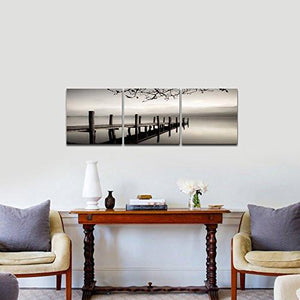 Pyradecor Peace 3 panels Black and White Landscape Giclee Canvas Prints on Canvas Wall Art Modern Stretched and Framed Pictures Paintings Artwork for Living Room Bedroom Home Décor AH3018 - zingydecor