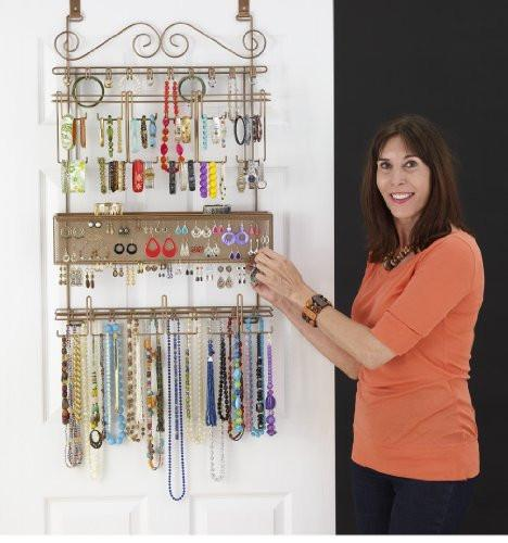 Longstem Overdoor Wall Jewelry Organizer in Bronze - Holds over 300 pieces. Unique patented product - Rated Best! - zingydecor