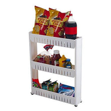 Load image into Gallery viewer, Mobile Shelving Unit Organizer with 3 Large Storage Baskets, Slim Slide Out Pantry Storage Rack for Narrow Spaces by Everyday Home - zingydecor