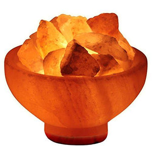 "Crystal Allies Gallery CA SLSFB-S Natural Himalayan Salt Fire Bowl Lamp with Rough Salt Chunks & Dimmable Switch, 6"" - zingydecor"