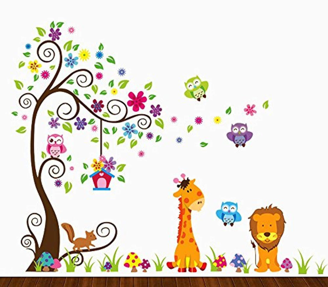 Kids Jungle Theme Peel and Stick Wall Decal, Colorful Owl Giraffe Lion Tree Decorative Unisex Sticker for Children Bedroom, Nursery, Playroom Mural