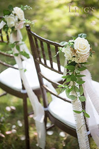 Ling's moment Wedding Aisle Decorations Flowers for Chairs Set of 8 Cream Blush Pew Flowers with Tails - zingydecor