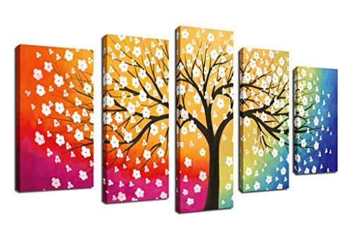 Canvas Wall Art Tree of Life Abstract Painting Framed Ready to Hang - 5 Piece Contemporary Pictures Polychrome Background Colorful Sky Blossom Sunset Tree Artwork Canvas For Bedroom Living Room