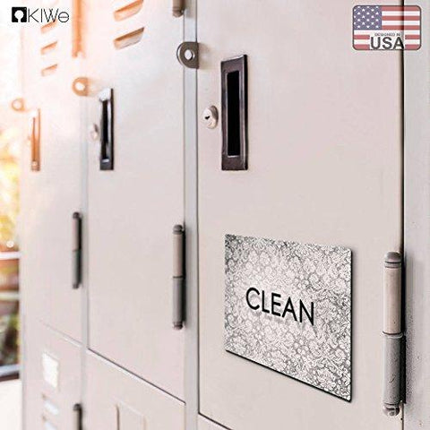 Image of Clean Dirty Dishwasher Magnet - Flexible Reversible 3x4 inch Big size Flipside Black and White Simple Design Perfect Kitchen Addition Premium Flip Sign Indicator