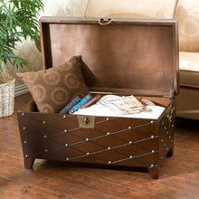 Load image into Gallery viewer, Nailhead Cocktail Table Trunk - Espresso - zingydecor