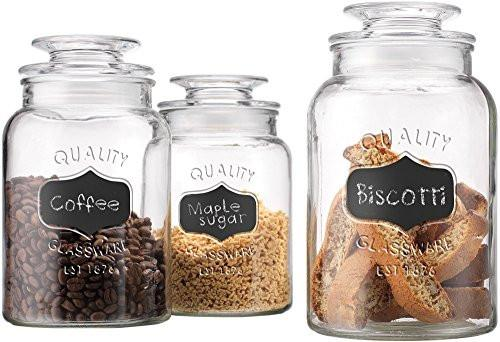 Home Essentials Quality Canister, Clear Glass, Chalkboard Jar with Tight Lids for Bathroom or Kitchen, Food Storage Containers, Round, Set of 3 - zingydecor