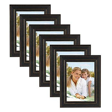"DesignOvation 209133 Kieva Solid Wood Distressed Picture Frame (Set of 6), 5 x 7"", Black"