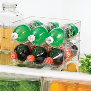 mDesign Stackable Water Bottle Storage Rack for Kitchen Countertops, Cabinet - Holds 6 Bottles, Clear - zingydecor