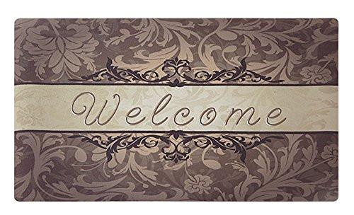 Rubber Doormat Indoor Washable Low Profile Inside Welcome Mat for Front Porch Entrance Shoe Scrap Apartment Garage Décor Office Foyer Hall Entryway Floor Mat Bedroom Carpet Home Kitchen Rug 18x30 - zingydecor