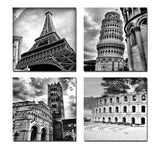 Architectures Modern 4 Panels Giclee Canvas Prints Europe Buildings Black and White Landscape Pictures Paintings on Canvas Wall Art Ready to Hang for Bedroom Home Office Decorations