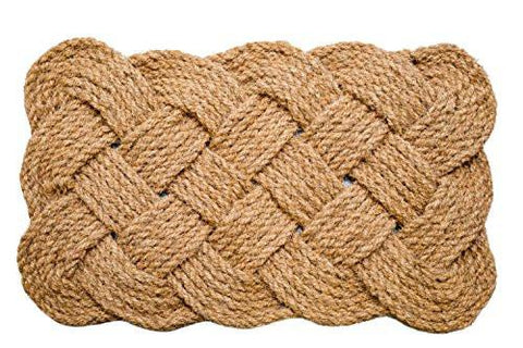 Image of Iron Gate - Natural Jute Rope Woven Doormat 18x30 - Single Pack - 100% All Natural Fibers - Eco-friendly - Classic Interwoven Rope Design