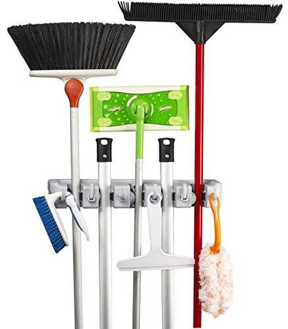 Image of Spoga Wall Mounted Mop, Broom, and Sports Equipment Storage Organiser