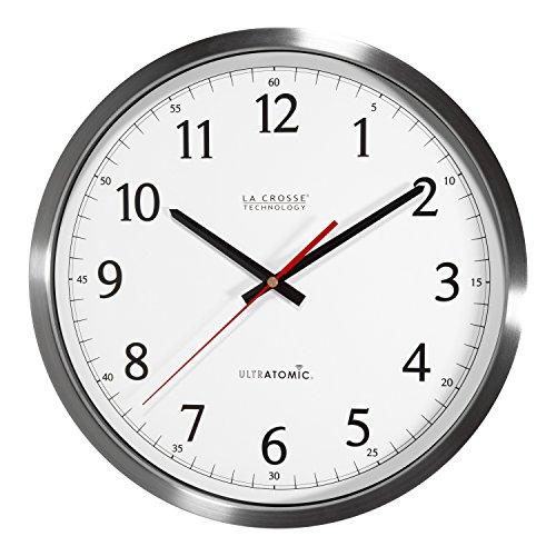 La Crosse Technology 404-1235UA-SS 14 Inch UltrAtomic Analog Stainless Steel Wall Clock
