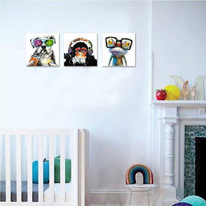 Animals Canvas Wall Art,Modern Gorilla Monkey Music Oil Painting Wall Painting Happy Dog Frog Canvas Painting Home Decor Animal Prints - zingydecor