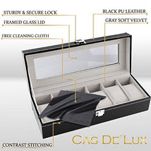Load image into Gallery viewer, Watch Box Display Case Organizer - 6 Slot Luxury Set with Glass Top Pu Leather Velvet Pillows Metal Lock - Cas De` Lux - zingydecor