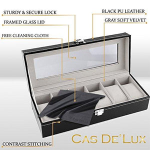 Watch Box Display Case Organizer - 6 Slot Luxury Set with Glass Top Pu Leather Velvet Pillows Metal Lock - Cas De` Lux - zingydecor