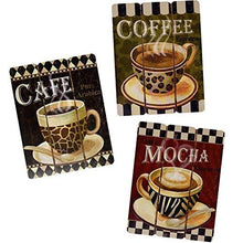 Load image into Gallery viewer, Coffee House Cup Mug Latte Java Mocha Wooden Wall Art Home Decor, Set of 3 - zingydecor