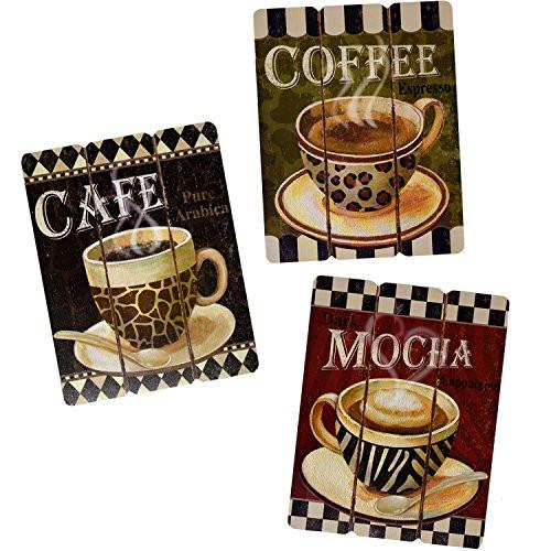 Coffee House Cup Mug Latte Java Mocha Wooden Wall Art Home Decor, Set of 3 - zingydecor