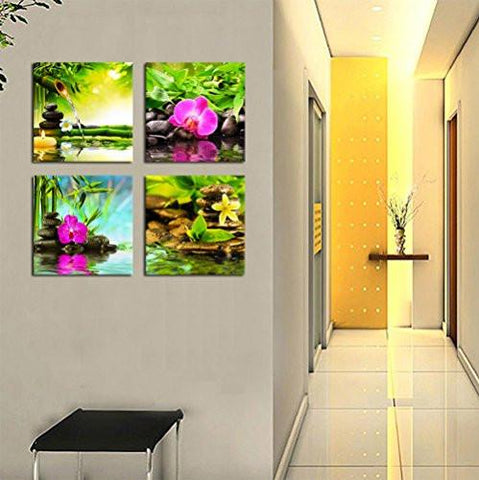 Image of Canvas Prints Zen Art Wall Decor - Spa Massage Treatment Painting Picture Print on Canvas Framed Ready to Hang - Red Orchid Frangipani Bamboo Waterlily Black Stone in Garden - 4 Panel Giclee Artwork