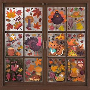 260 Pieces Fall Leaves Window Stickers, 12 Sheets