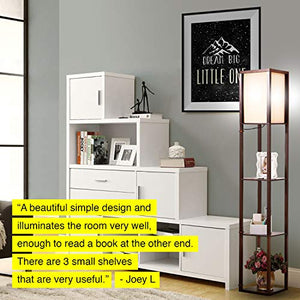 Modern LED Shelf Floor Lamp - Skinny End Table & Nightstand for Bedroom - Combo Narrow Side Table with Standing Accent Light Attached - Asian Tower Book Shelves - Black