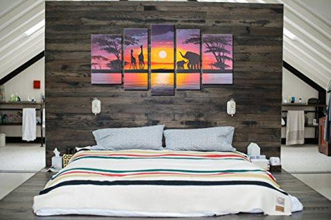 ... Hand Painted Modern Abtract Framed Canvas Wall Art Oil Paintings Sunset  Ready To Hang For Living ...