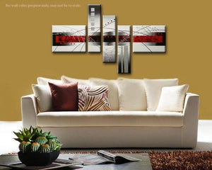 "5-Piece ""Perfect White Lines"" Stretched and Framed Hand-Painted Modern Abstract Oil Paintings on Canvas Wall Art Set - zingydecor"