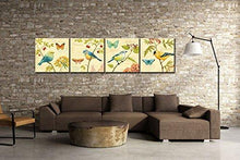 Load image into Gallery viewer, Bird and flower Painting 4 pcs Wall Art Lanscape Painting Print on Canvas Wall Decoration Wrapped with Wooden Frame Ready to Hang - zingydecor