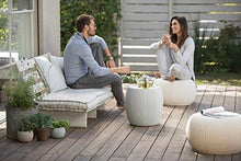 Load image into Gallery viewer, Keter Urban Knit Pouf Ottoman Set of 2 with Accent Table for Patio Decor, Cloudy Grey/Oasis White