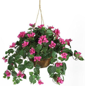 Nearly Natural 6608 Bougainvillea Hanging Basket Decorative Silk Plant, Beauty - zingydecor