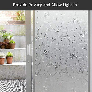 Mikomer Privacy Window Film Wheat Flower Static Cling Glass Door Film, Non Adhesive Heat Control Anti UV Window Cling for Office and Home Decoration,17.5 inches by 78.7 inches - zingydecor