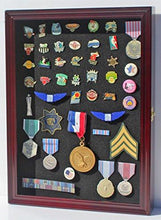 Load image into Gallery viewer, Lapel Pin, Button, Medal, Jewelry Display Case Shadow Box, with Glass Door - Cherry Finish (PC01-CH)