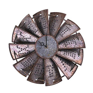 Rustic Metal Windmill Wall Clock, NALAKUVARA Silent Non Ticking Wall Clocks Large Decorative - Vintage Antique Conuntry Farm Home Farmhouse Decor - Quality Quartz Battery Operated - 14.5 Inch - zingydecor
