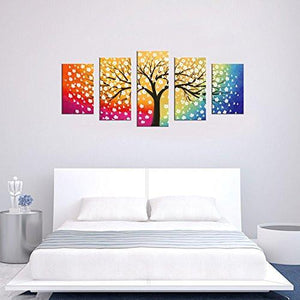 Canvas Wall Art Tree of Life Abstract Painting Framed Ready to Hang - 5 Piece Contemporary Pictures Polychrome Background Colorful Sky Blossom Sunset Tree Artwork Canvas For Bedroom Living Room - zingydecor
