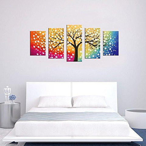 Canvas wall art tree of life abstract painting framed ready to hang 5 piece contemporary
