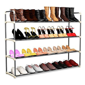 4-Tier Shoe Rack Organizer Storage Bench - Holds 24 Pairs - Organize Your Closet Cabinet or Entryway - Easy to Assemble - No Tools Required - zingydecor
