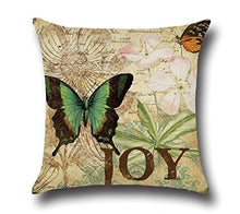Load image into Gallery viewer, MFGNEH 4 Pack Vintage Style Home Decor Cotton Linen Butterfly Pattern Throw Pillow Covers 18x18 - zingydecor