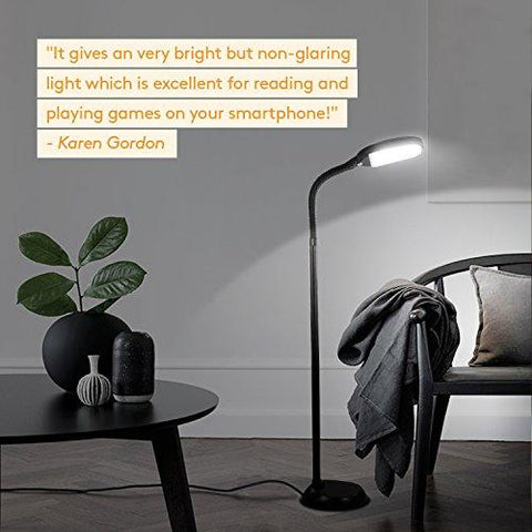 Image of Brightech Litespan LED Reading and Craft Floor Lamp - Dimmable Full Spectrum Natural Daylight Sunlight LED Standing Light with Gooseneck for Living Room Sewing Bedroom Office Task – Black - zingydecor