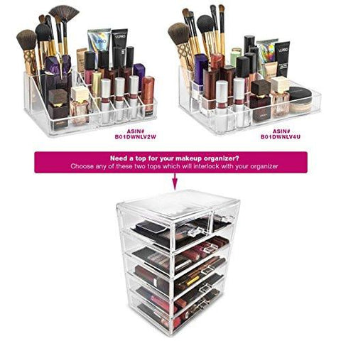 Image of Sorbus Cosmetics Makeup and Jewelry Big Storage Case Display- 4 Large and 2 Small Drawers Space- Saving, Stylish Acrylic Bathroom Case