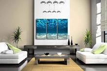 Load image into Gallery viewer, Print Artwork Blue Ocean Sea Wall Art Decor Poster Artworks For Homes 3 Panel Canvas Prints Picture Seaview Bottom View Beneath Surface Pictures Painting On Canvas Modern Seascape Home Office Decor - zingydecor