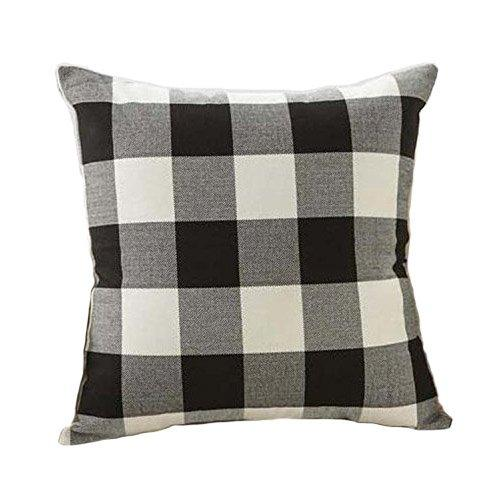 Black White Retro Checkers Plaids Linen Square Throw Pillow Cover Decorative Cushion Sham Pillowcase Cushion Case for Sofa 18 x 18 Inch